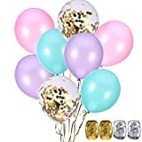 Jovitec 40 Stück Ballons 12 Zoll Blau, Rasa, Lila und Gold Konfetti Ballon für Meerjungfrau Geburtstag Dekoration