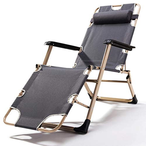 gstühle gartenstuhl Liegende Patio Stühle, Outdoor Patio Portable übergroßen Klapp Liegestuhl für Kinder große Männer, blau grau rot, Last 200kg (Farbe : Gray) ()