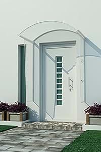 Auvent marquise toit en verre türdach aNGEL 1,80 m x 1,2 m avec protections latérales
