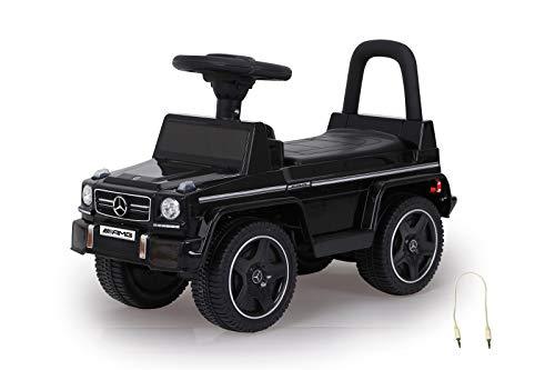 Jamara 460405 Rutscher Mercedes-Benz AMG G63 Kippschutz, Kofferraum unter Sitzfläche, Schub-und Haltegriff, AUX-und USB-Anschluss, Hupe/Motorsound am Lenkrad, wertige Verarbeitung, schwarz