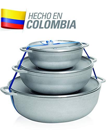 IMUSA R200-CALDERO22C Traditioneller Kolumbianischer Kaldero-Set 3-teilig (1,6/3,2/4,6) Quart, silber 4 Quart-cast
