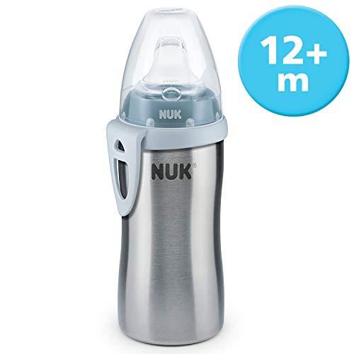 NUK Active Cup Trinklernflasche Kinder, auslaufsicher, hochwertiger Edelstahl, 215ml, 12+ Monate, BPA-frei, Blau (Boy)
