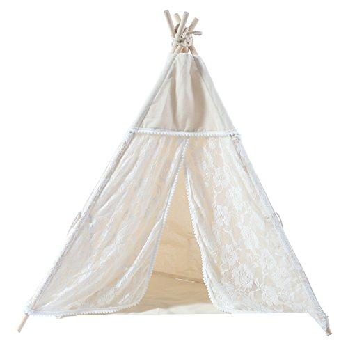 Spitze Pet Teepee Haus - 71cm beige Elegante Katze Puppy Snuggle Leinwand Bett Zelt Möbel mit Kissen von Wonder Space (Keine Kratzer-möbel-pads)