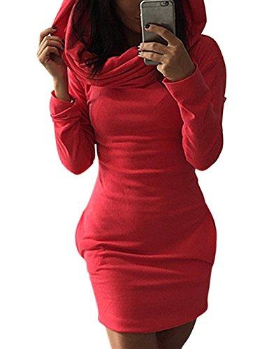 Langarm-hoodie Tunika (Minetom Damen Bodycon Kapuzenpullover Langarm Pullover Hoodie Tunika Longshirt Kleider Rot DE 36)