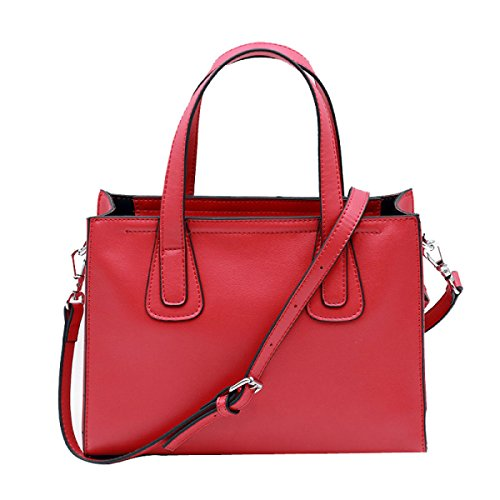 Frauen Faux-Leder-Aktenkoffer Messenger Bag Damen Handtaschen Multicolor Red