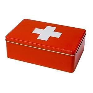 erste hilfe box leer metall rot k che haushalt. Black Bedroom Furniture Sets. Home Design Ideas