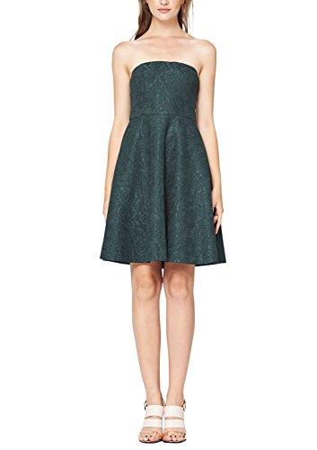 s.Oliver BLACK LABEL Damen Bustier Kleid mit Spitze, Knielang, Einfarbig Grün (dark forest 6758)