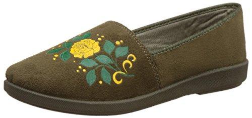 Action Shoes Women's Olive Espadrille Flats - 4 UK/India (36 EU)(BN-1024)
