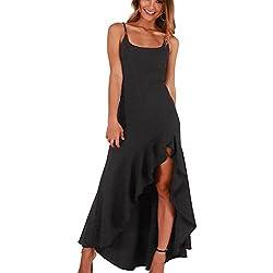 Vestido de Playa de Verano para Mujer Casual Sólido sin Tirantes en Frío Lady Sling Beach Vestido Largo de Bohemian Ruffles Sundresses