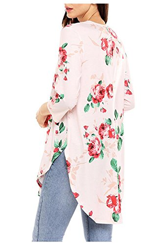 Yedat Damen Mode Bluse Floral Splice Printing Rundhals Langarmshirt Pullover Tops T Shirt Oberteil Rosa