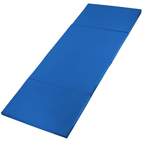 ALPIDEX Klappbare Gymnastikmatte Turnmatte für zuhause 300 x 120 x 5 cm für Kinder und Erwachsene - mit Klettecken, 3fach klappbar, Farbe:blau