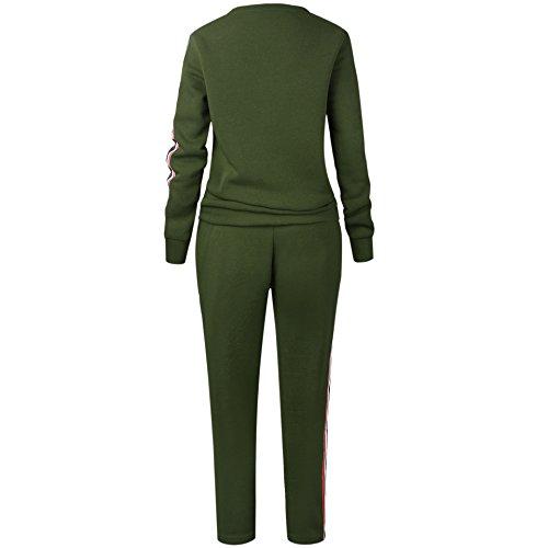 Donna Tuta da Ginnastica 2 Pezzi Felpa Manica Lunga E Lungo Pantaloni Sportivi Eleganti Autunnali Invernali Calda Casual Jogging Training Pullover Sweatshirt Pantalone Pants Verde
