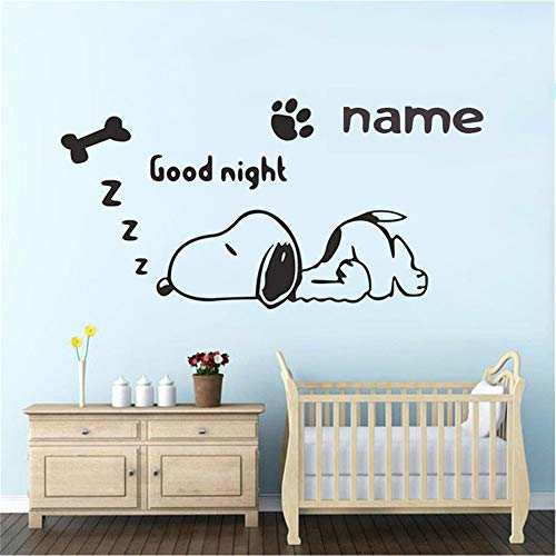 kyprx Anpassbare Name Cartoon Hund Wandaufkleber Kinderzimmer Babyzimmer Junge Schlafzimmer Hauptdekoration Vinyl Wandtattoos rot 81x42cm