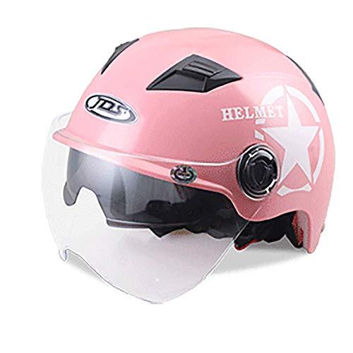 LALEO Estate Traspirante Open Face Casco da Moto, Regolabile Removibile Mantieni Doppi Occhiali per Donna e Uomo Adulto, Omologato ECE 7 Colori Disponibili (55-62cm),Pink