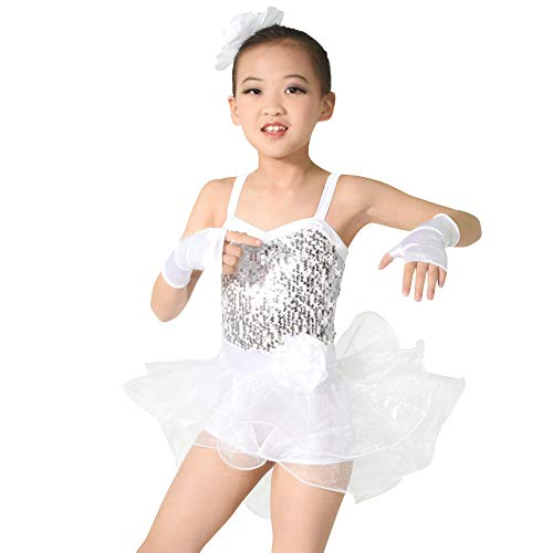 MiDee Girls Camisole Sequin Dance Costume Ballet Biketard Dress (MC, White)