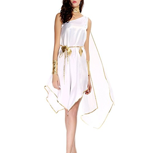 Partiss Damen Weiss Arabisch Griechisch Halloween Cleopatra Goettin Fee Karneval Lange Kleider ()