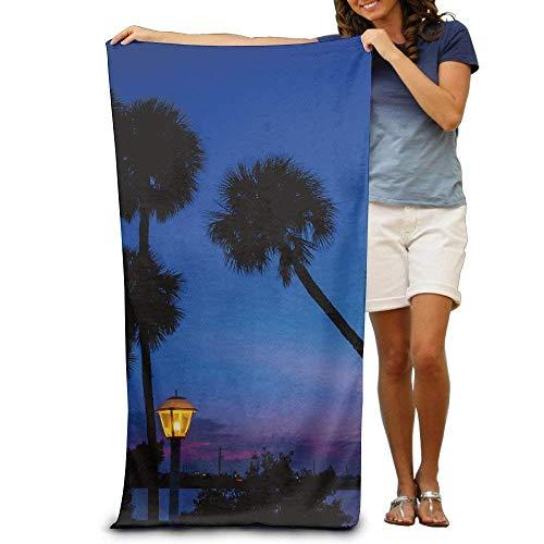 xcvgcxcvasda Sunset Night Evening Florida Palm Tree Bluehour Cocoa Beach Beach Towel Unique Pattern Design -