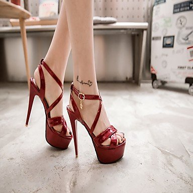 LvYuan Da donna Sandali Finta pelle PU (Poliuretano) Estate Autunno Footing Fibbia A stiletto Bianco Nero Argento Rosso 10 - 12 cm White