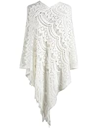 Doballa mujures Cozy Crochet Tassels Edge Hollowed Pattern Tejer Poncho Chal Abrigo