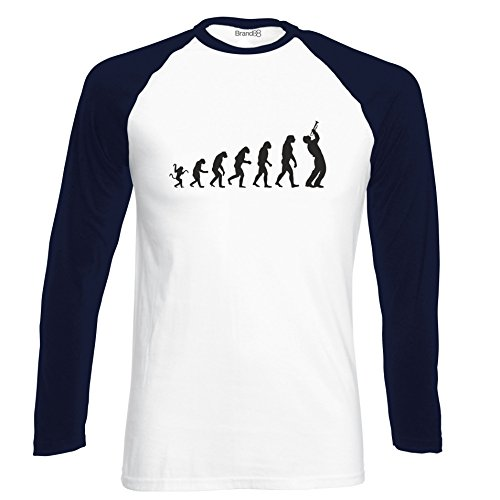 Brand88 - The evolution of a trumpet player, Langarm Baseball T-Shirt Weiss & Dunkelblau