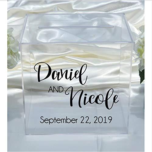 Topzt Wandaufkleber Personalisierte Hochzeitskarte Box Aufkleber Engagement Vinyl Aufkleber Benutzerdefinierte Aufkleber Abnehmbare Einfache Rustikale Hochzeitsdekor 76X56 cm