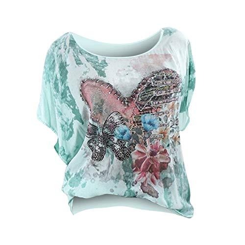 ♥ Loveso♥ Plus Size Damenbekleidung Sommer Schmetterling Print Shirt Rundhalsausschnitt Oberteile Kurzarm Tee Große Größen Lose Kleidung - Schmetterling-print-rock