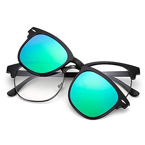 Sonnenbrillen für Damen Retro-Stil Sonnenbrille mit austauschbaren Linsen für Männer Frauen farbige Linse unzerbrechlich TR90 Frame Clip-on UV-Schutz Magie Sonnenbrille mit magnetischen Zum Fahren am