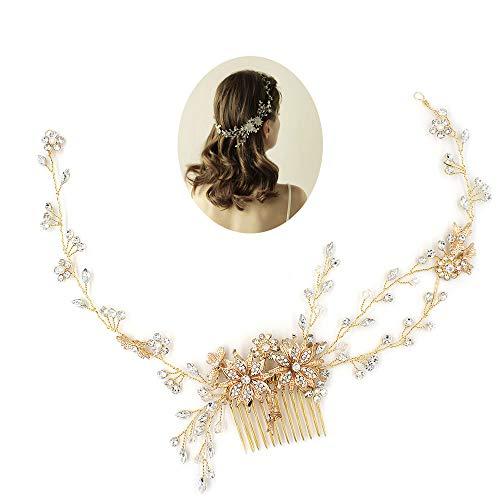 Braut Haarband, Korean Hochzeit Schmuck Strass Haarspange Haarkamm, Hochzeit Zubehör Hochzeitskleid Kopfschmuck,Gold