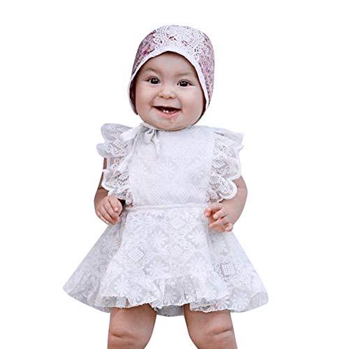 Kleider Kinderbekleidung Honestyi Säugling Baby Strampler Solide Spitze Tutu Prinzessin Kleid Rüschen Overall Outfits (Weiß,90)