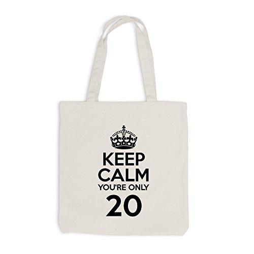 Sacchetto Di Juta - Mantieni La Calma Sei Solo 20 - Compleanno Venti Beige