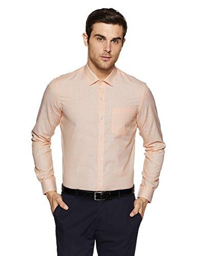 Excalibur EX Men's Solid Regular Fit Formal Shirt (276227783 Orange 42)
