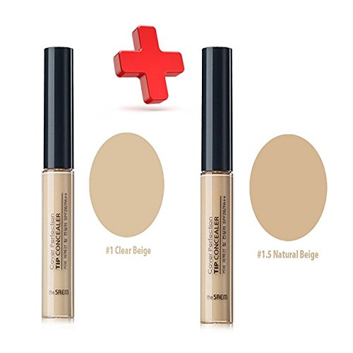 [THE SAEM] Cover Perfection Tip Concealer (SPF28/PA++) 6.8g/1+1 Big Sale (One #1 Clear Beige + One #1.5 Natural Beige