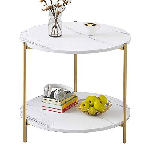 LARRY SHELL Couchtisch, kleinen Tisch marmor Muster Holz doppel Sofa beistelltisch quadratischen Tisch, einfach und elegant, geeignet für Wohnzimmer, büro