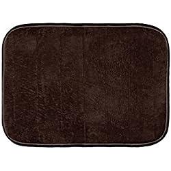 "Warmland Anti Skid Solid Polyester Door Mat-15""x 22"", Brown"