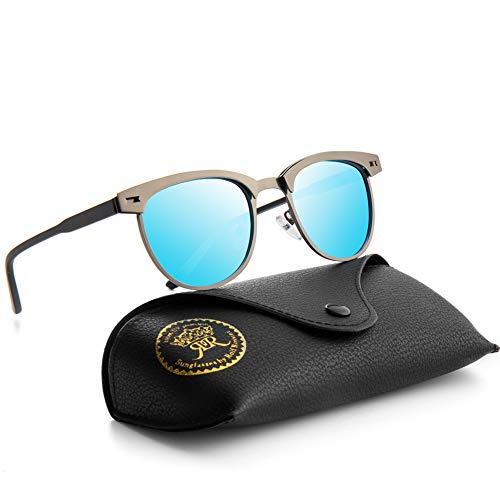 Mini Tree Rocf Rossini Halbrandlose Polarisierte Sonnenbrille für Männer Klassische Metall Retro Polarisierte Frauen Sonnenbrille UV400 (Blau)