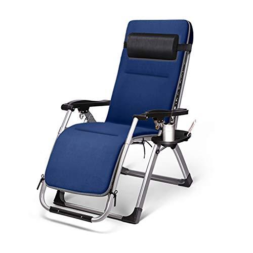 KTOL Hochlehner-Auflage Gartenstuhlauflage Sitzkissen, Abnehmbarem Terrasse Sitzauflage Wildleder Deckchair Liege Stuhlkissen Pad Stabil 4d-Speicher Baumwolle-blau -