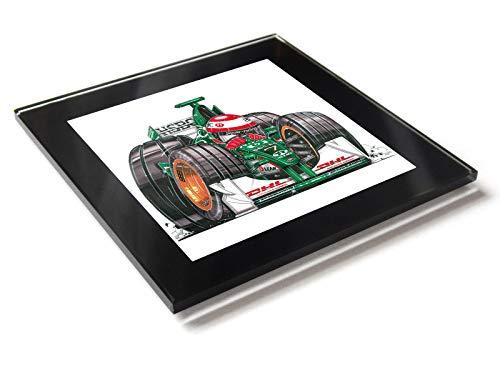 Koolart F1 Fórmula 1 Eddie Irvine Jaguar Race - Posavasos de cristal con caja de regalo