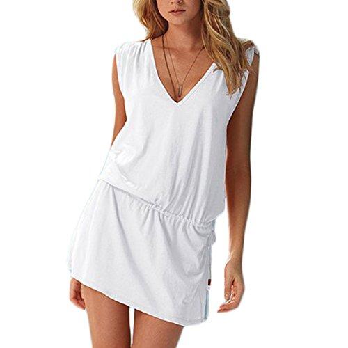 Frauen Mode V-Ausschnitt ärmellos Einfarbig Loose Beiläufige Ein Gürtel Kleid Beachwear Minikleid Freizeitkleid Weiß
