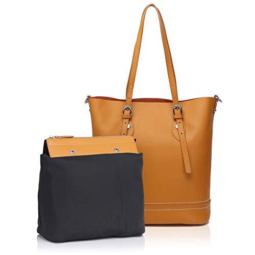 APHISON P076 Damen Handtaschen, Handtaschen, Schultertasche, Gelb (gelb), Medium -