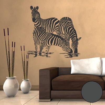 A564 Wandtattoo'Zebra Familie' 63cm x 60cm anthrazit (erh. in 40 Farben und 4 Größen)