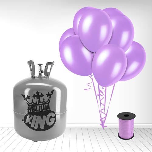Bouteille d'hélium jetable avec 50 Ballons lavande et ruban inclus