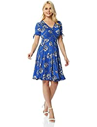 74c19911d10a5f Roman Originals Rose Print Tea Dress - Ladies Fashion Top for Formal  Parties Gatherings Special Occasions