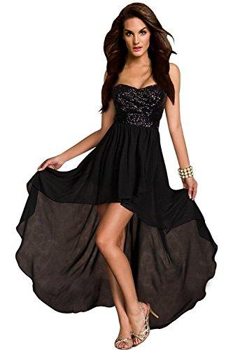 aimerfeel Frauen schwarze Bustier-Kleid mit Pailletten Top und Größe S 38-40 zurückfließt