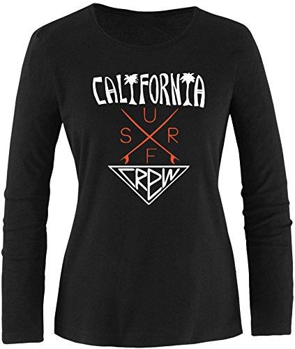 EZYshirt® California Surf Crew Damen Longsleeve Schwarz/Weiss/Orange