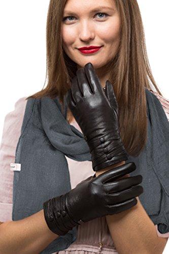 Modische Lammfell Lederhandschuhe für Frauen | Touchscreen Handschuhe aus Echtleder mit Thinsulate Innenfutter für Herbst & Winter