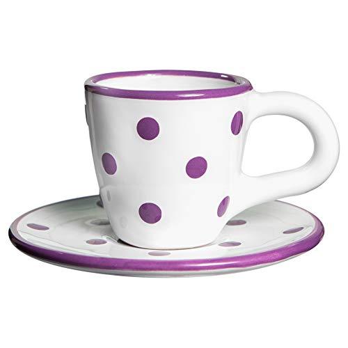 City to Cottage | Tasse et sous tasse à café | blanche à pois violets en céramique faite et peinte à la main | 60ml