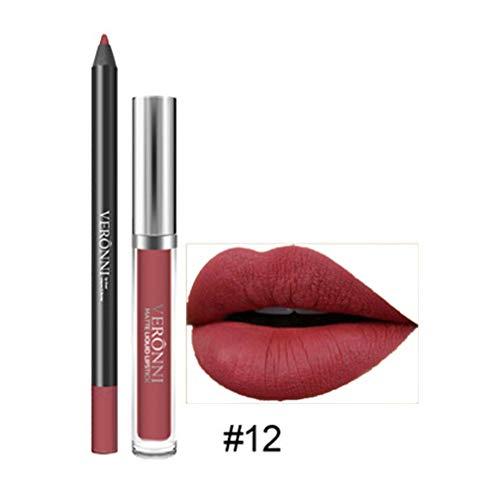 Rouge à lèvres, Tefamore Longue durée de Rouge à lèvres imperméable à l'eau Mat Liquide Gloss Lip Liner Set de cosmétiques (12#)
