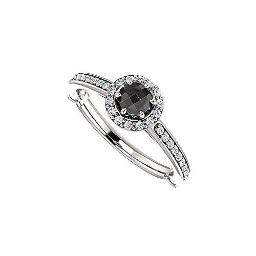 ite Diamond Halo Engagement Ring (Black Diamond Halo-ring)