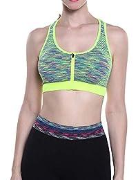 Mengmiao Mujer Imprimiendo Sujetador Yoga Deportivo Cremallera Delantera con Relleno Sujetadores