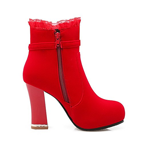 VogueZone009 Donna Cerniera Punta Tonda Tacco Alto Media Altezza Stivali con Metallo Pezzo Rosso
